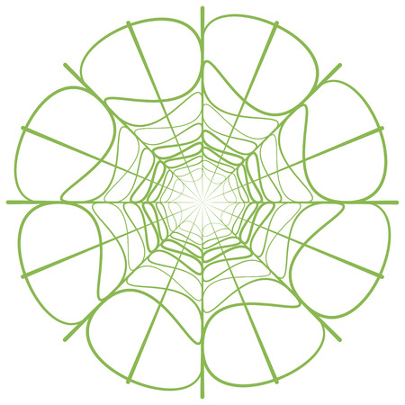 cultivate: Abstract linear green circle. Vector illustration with greenery - color of the year