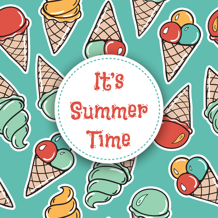 tagline: It is summer time Seamless pattern with icecreams