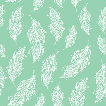 Seamless pattern with tribal feather.