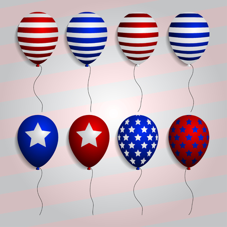 realistic set balloons with American patriotic symbols and colors. vector Illustration
