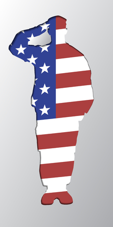 cut paper: The silhouette of a soldier saluting, United States of America flag background