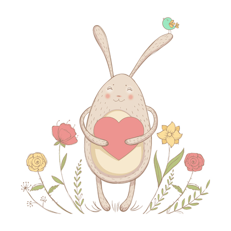 In love rabbit with heart Illustration