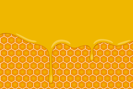 vector background with honeycombs and honey cartoon style