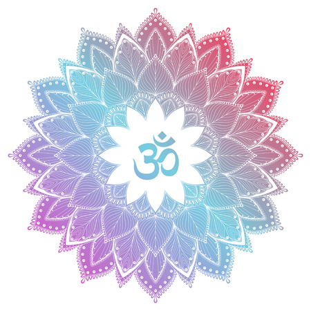 aum: Aum Om Ohm symbol in decorative round mandala ornament. Illustration