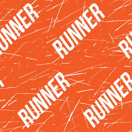 taping: Kinesio tape horizontal seamless pattern or background. Fitness runner orange Scratched elements, sport label, textile Illustration