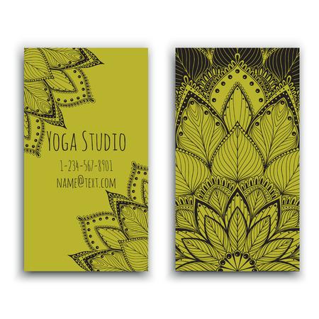 Yoga studio business card with green mandala design