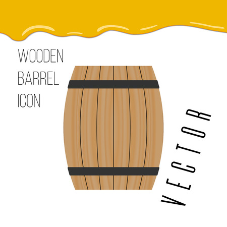 wooden barrel icon with honey drops vector illustration