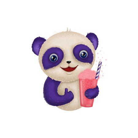 Cute Panda with milkshake drink Illustration