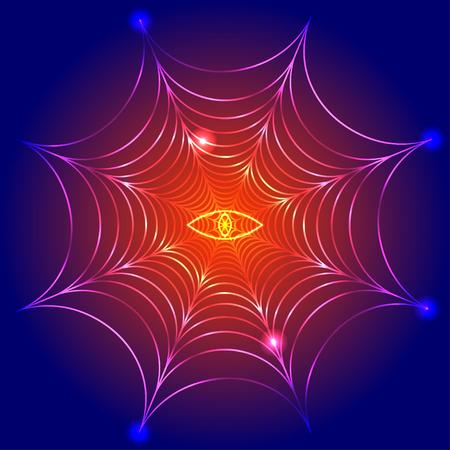 ojo de horus: tela de araña, telaraña con ojo de fuego