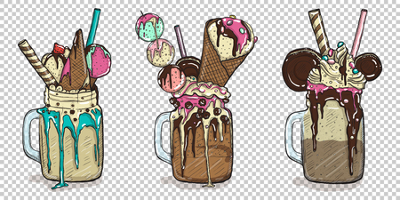set of delicious desserts with some toppings Illustration