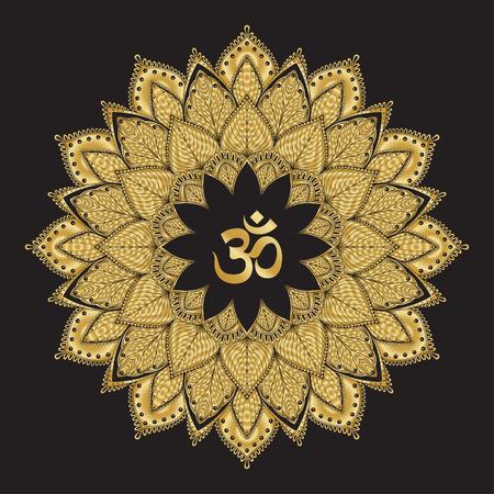 Om symbol with mandala. Round golden Pattern on black background. Illustration