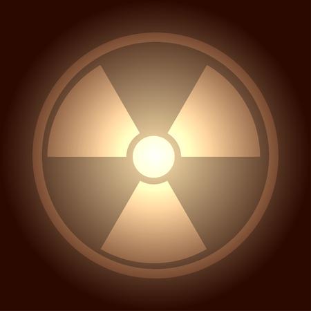 nuke: Glow button with radiation symbol, vector illustration