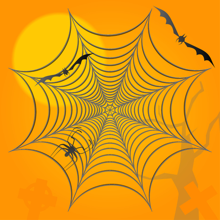 Halloween background. Spider bats and graves.
