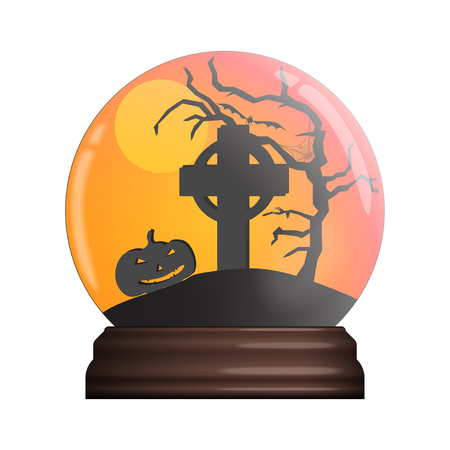 glass bowl with halloween scene illustration
