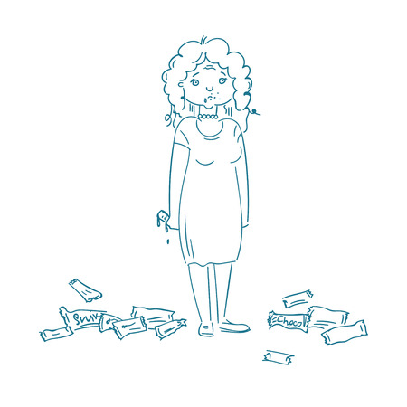woman with eating disorder eat sugar products, Illustration 版權商用圖片 - 86379971