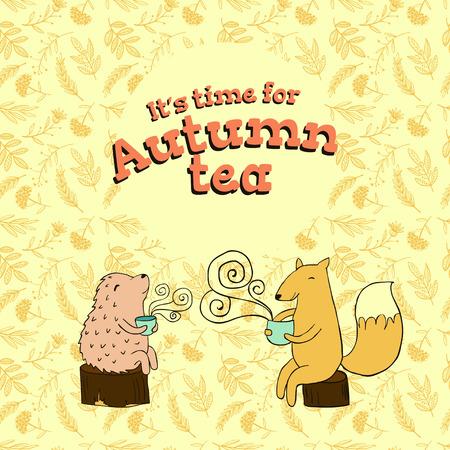 ladybug: Autumn tea vector design