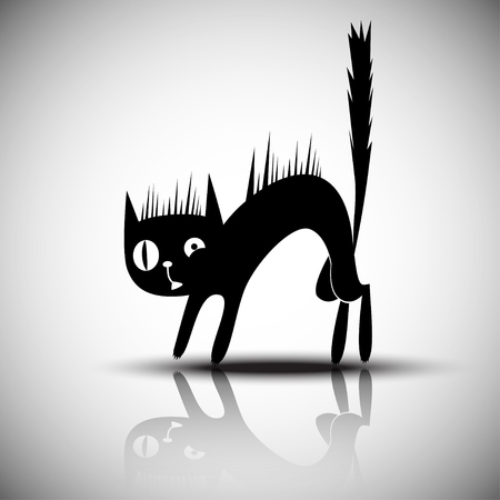 Vektorschwarzes Schattenbild der verärgerten Katze. Standard-Bild - 87753731