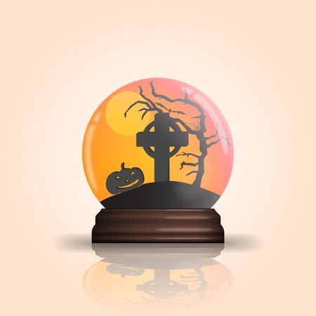 Halloween glass bowl illustration