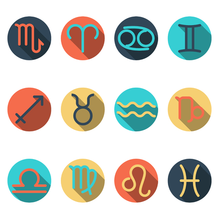zodiac flat buttons, icon set separated by elemental signs