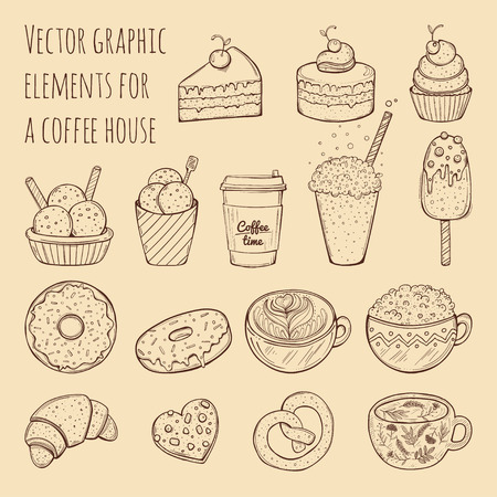Hand drawn vector illustration - collection of goodies, sweets, cakes and pastries.