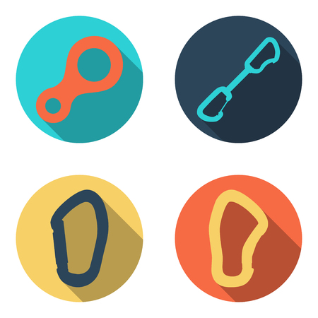 Set flat icons of climbing equipment