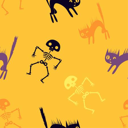 Halloween orange cartoon seamless background. Vector illustration