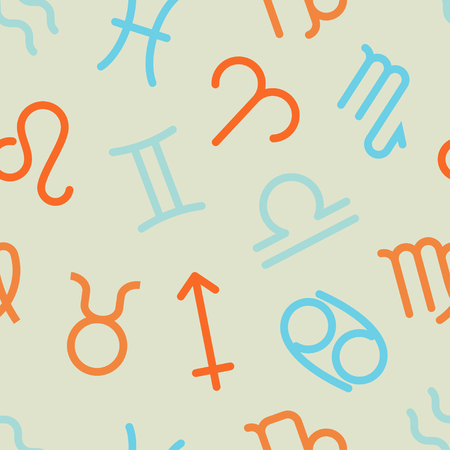 zodiac signs for astrology element set of icons seamless pattern