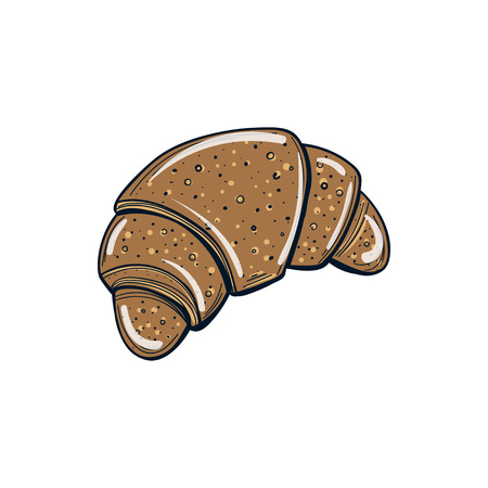 Croissant illustration isolated on white background.