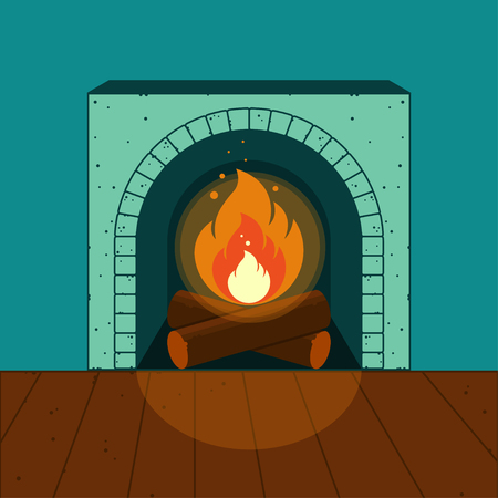 A lighted fireplace on the background of a cozy interior. Vector illustration Illustration