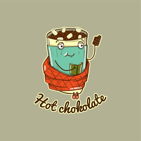 Vector illustration character of warming hot chocolate