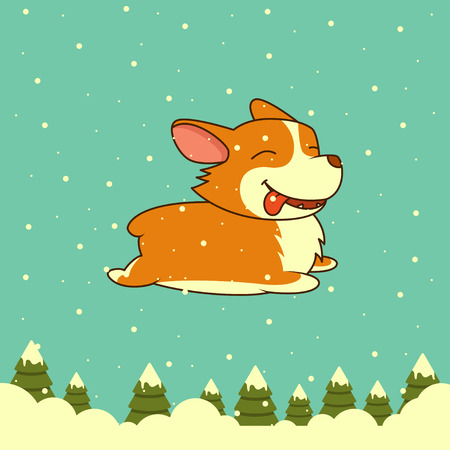 Vector New Year dog on winter forest background.