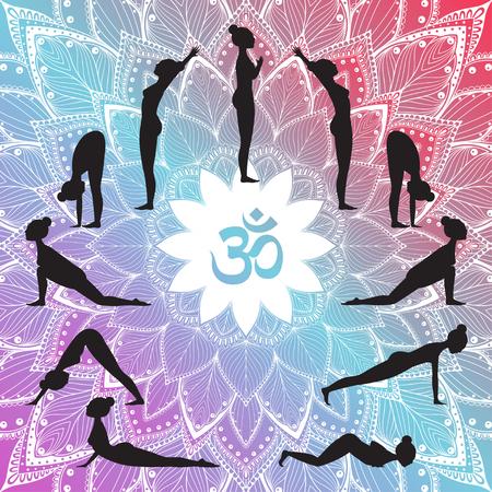 Insieme di yoga, surya Namaskar con l'illustrazione di vettore della siluetta della donna.