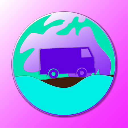 Van inside a circle over a purple illustration. Illustration