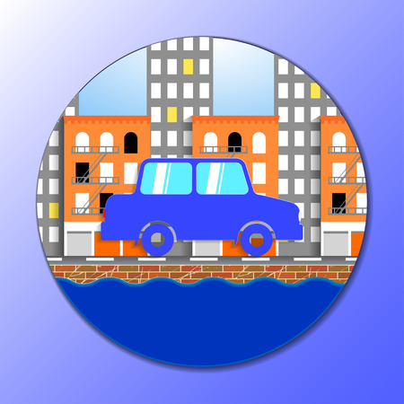 flat vector illustration of car in New york city