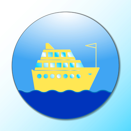 Cruise ship icon on round internet button original vector illustration Illustration