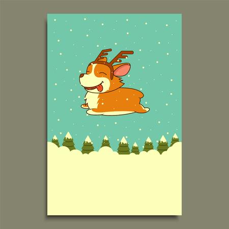 Vector New Year dog on winter forest background. Welsh corgi dog.