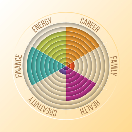 Papercut Wheel of Life Diagram, Coaching Tool in Colors.