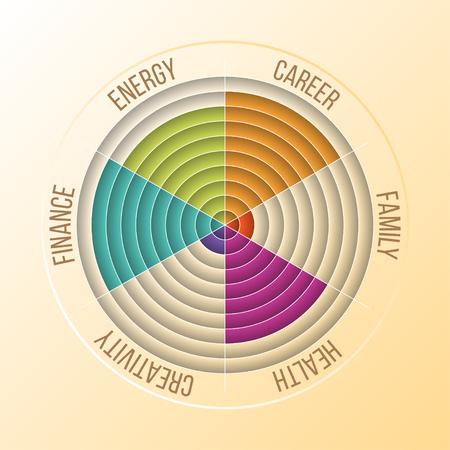 Papercut Wheel of Life Diagram, Coaching Tool in Colors.
