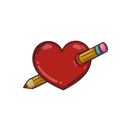 Heart pierced with a pencil. Vector illustration. Template for Valentine day. Vettoriali
