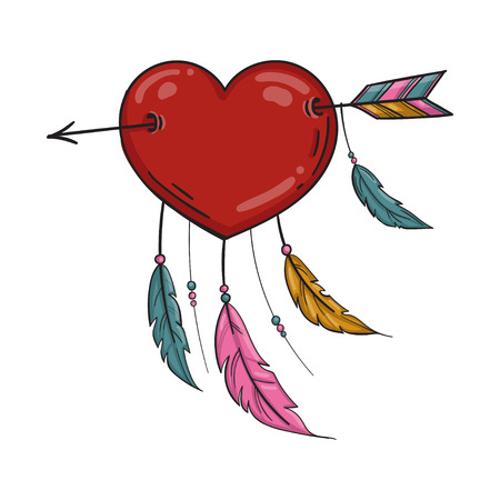 Vector Red Indian heart with arrow and ornament. Isolated on white background. Illustration
