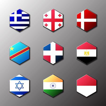 Hexagon icon set. Flags of the world with official RGB coloring and detailed emblems