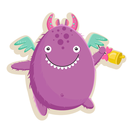 Vector illustration with cute little purple monster is ready for the first day of school with a bell in his paw.