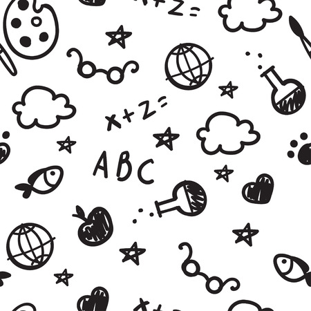 Black and white pattern of welcome back to school with hand drawn school supplies. Back To School Background. Vector.