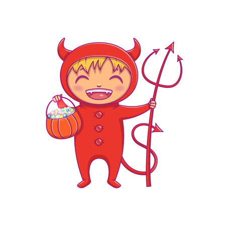 Halloween Kids Costume. Little boy in halloween costume of devil laughing. Cartoon vector Character for party, invitations, web, mascot. Isolated on white background.