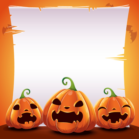 Halloween poster with realistic pumpkins on orange background with text place on sheet of paper and with bats. Vector illustration for posters, banners, invitations, advertising, flyers. Vectores