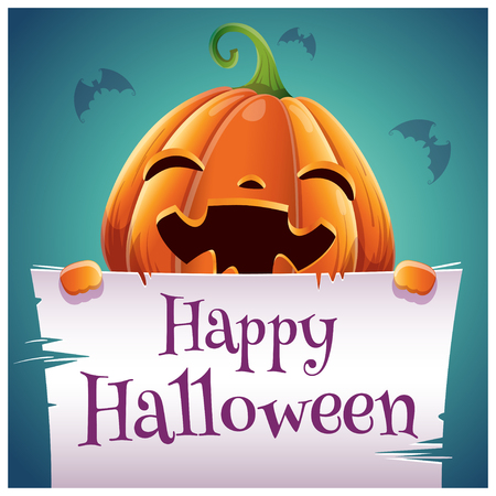 Happy Halloween poster with smiling pumpkin with parchment on dark blue background. Happy Halloween party. For posters, banners, flyers, invitations, postcards.