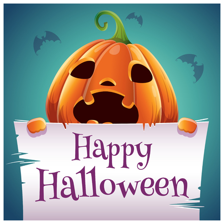 Happy Halloween poster with scared pumpkin with parchment on dark blue background. Happy Halloween party. For posters, banners, flyers, invitations, postcards.