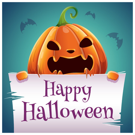 Happy Halloween poster with angry evil pumpkin with parchment on dark blue background. Happy Halloween party. For posters, banners, flyers, invitations, postcards.  イラスト・ベクター素材