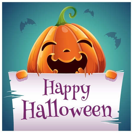 Happy Halloween poster with silly smiling pumpkin with parchment on dark blue background. Happy Halloween party. For posters, banners, flyers, invitations, postcards. Ilustrace