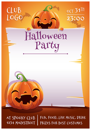 Happy Halloween editable poster with smiling and happy pumpkins with parchment on orange background with bats. Happy Halloween party. For posters, banners, flyers, invitations, postcards.  イラスト・ベクター素材